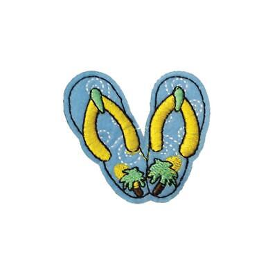 Embroidery Applique Patch Sew Iron Badge Palm Beach Blue Sandals Iron On