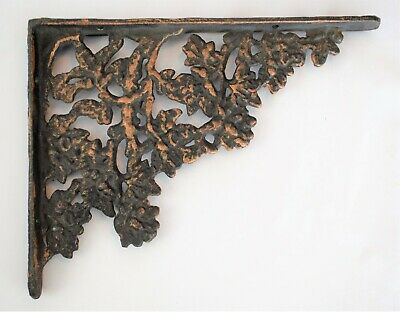"Vintage Wrought Iron Metal Shelf Bracket Support Wall Mount Floral 8.5"" x 6.5"""