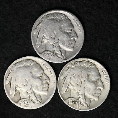 SET OF 3 COINS 1936 P D S Buffalo Nickel G / VG FREE SHIPPING