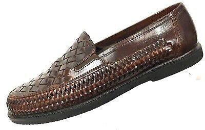 45380678cee Deer Stags Men s  Tijuana  Brown Leather Woven Huaraches Shoes Loafers 9.5D