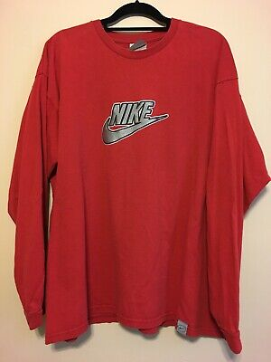 4b8f15af2d9f Vintage Nike Long Red Sleeve T-Shirt Embroidered Swoosh Men s Size XL Gray  Tag