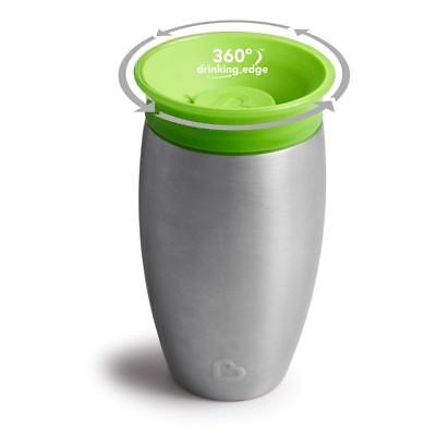 Munchkin Miracle 360 Degree Stainless Steel Sippy Cup, 10 oz/296 ml, Green 12m+