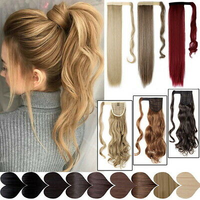 Real Thick Clip In Human Remy Natural Hair Extensions Pony Tail Wrap On Ponytail