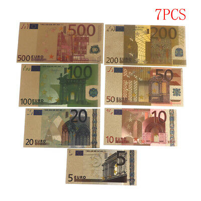 7pcs Euro Banknote Gold Foil Paper Money Crafts Collection Note Currency Fad