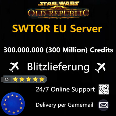Star Wars The Old Republic SWTOR 100 Million Credits Alle EU Server 100000K 100M