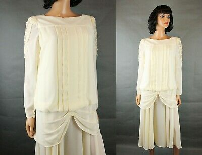 098d22279a718 80s Prom Dress Sz 6 S Vintage Ivory Off White Semi Sheer Crepe Cocktail Gown