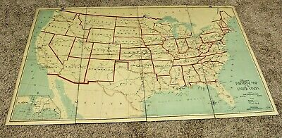 Antique 1928 Canvas Backed Folding Map- Industrial Map Of United States Thayers