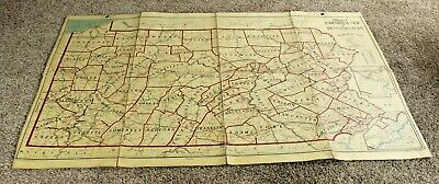 Antique 1928 Canvas Backed Folding Map- Industrial Map Of Pennsylvania- Thayers