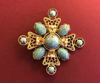 Vtg Egyptian Gold Gilt Turquoise Cabochon Seed Pearl Maltese Cross Runway Brooch