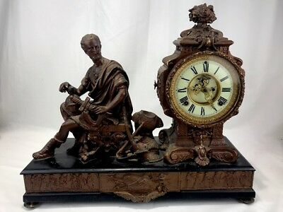Ansonia Figural Mantle Clock Greek Figure Ornate Mechanical Brass Cast Iron Key