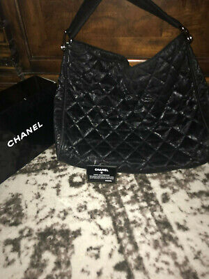 Authentic CHANEL black metallic nylon quilted Matrasse large tote bag- 4000 3cdf5465ddf35