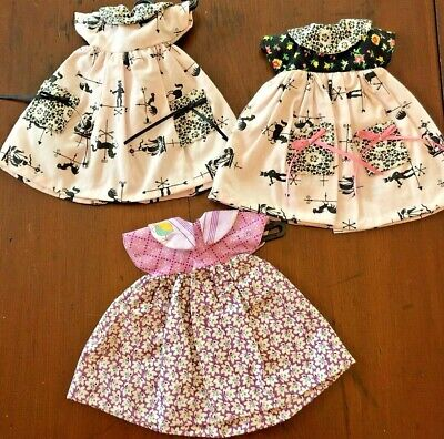 "Three School dresses for 13"" doll; i.e Dianna Effner ""Little Darling"""