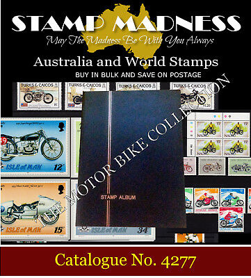 WORLD Stamp Album The MOTOR BIKE COLLECTION Mint stamps FDC from Bulk Estate Buy