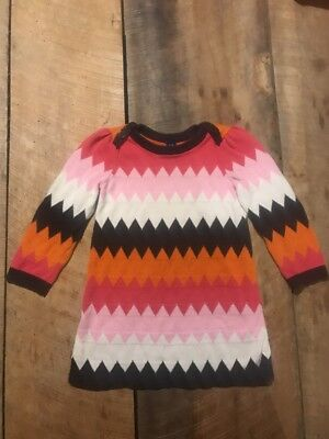 Baby Gap Girls Size 3T Sweater Dress Pink Brown Orange Cream Buttons