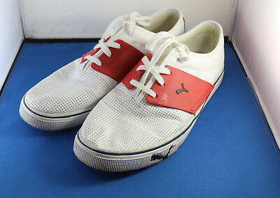 Puma El Ace White Red Leather Lace-Up Casual Sneaker Men s Sz 12 Skate Shoes feddd0bfe