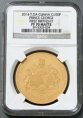 2014 NGC Prince George's 1st Birthday £100 Gold Coin PF70 Matte w Box & COA Rare