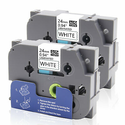 """2PK TZe-251 TZ251 Label Tape P-touch Compatible Brother 24mm 0.94"""" White PT-350"""