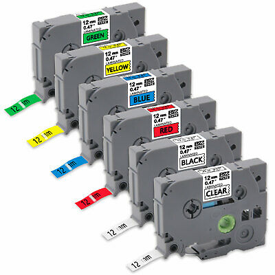 6PK Label Tapes TZe131-TZe731 12mm colorful Compatible Brother p-touch PT-D400AD