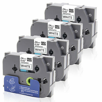 """4PK TZe-251 TZ251 Label Tape P-touch Compatible Brother 24mm 0.94"""" White PT-350"""