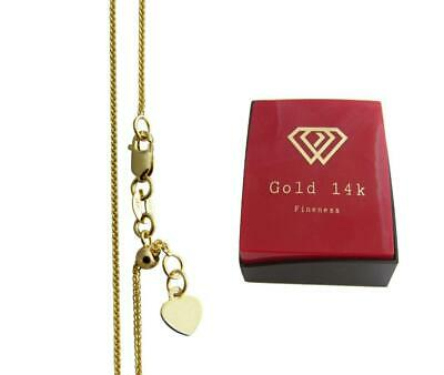 REAL 14k Yellow Gold Solid gold Adjustable Wheat Chain Necklace