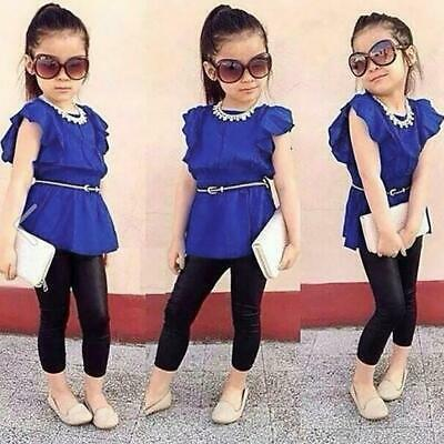 Solid Ruffles Tops Leather Pants Girls Clothes Summer Clothes Children Outfit