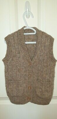Bx5) Boys size 2-3 Wool Like Brown Button Down Vest