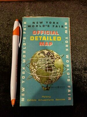 Vintage Esso 1964 New York Worlds Fair Parking Exhibits Amusements Services Map