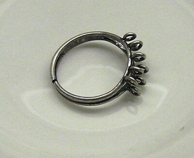 Ring, antique silver-plated brass, 6mm wide with (10) 3mm loops, adjustable x 2