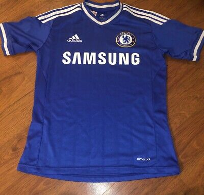 Adidas ClimaCool Chelsea FC Samsung Kids Blue Home Soccer Jersey Size L Used cf6ab2833