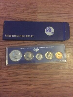 1967 US Special Mint Set 40% Silver Kennedy Half Dollar 5 Coins