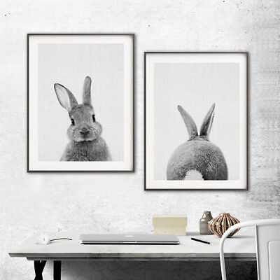 ALS_ Nordic Rabbit Print Poster Wall Art Animal Painting Living Room Decor Lates
