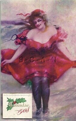 Original Vintage 1908 Risque Pinup Postcard- Bathing Beauty- Swimsuit- Calendar