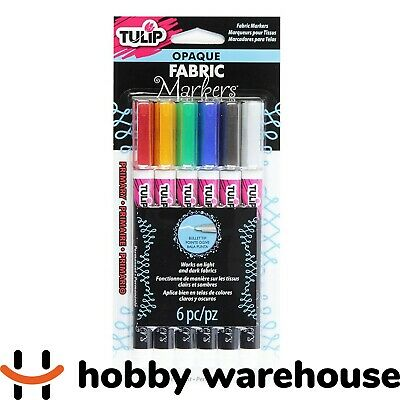 Tulip Opaque Fabric Markers Primary 6 Pack