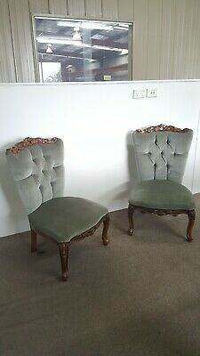 Set of two french slipper chairs