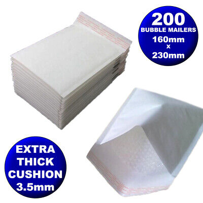 200 Bubble Mailer Envelope 160x230mm White Kraft Paper Padded Bag Extra Cushion