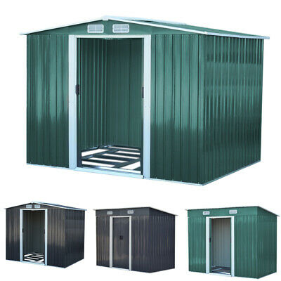 8x8ft, 10x8ft Strong Metal Garden Outdoor Storage Shed Double Door and Air Vents