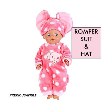 Baby born doll clothes fits 43 cm American Girl 2 piece set jumpsuit rompers hat
