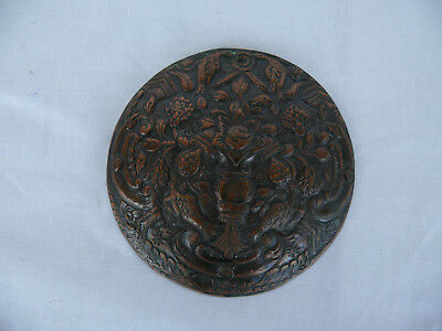 Ancient Old Hand Made Copper Appliqué  Piece of Art Flowers and Birds  #1413