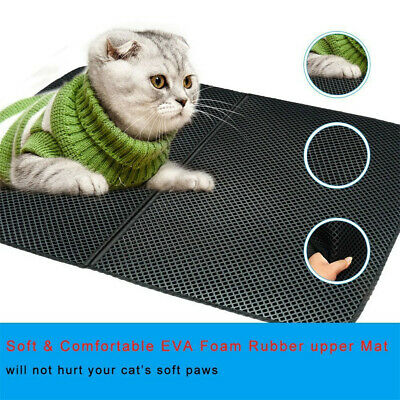EVA Cat Litter Mat Waterproof Double-Layer Cat Litter Trapper High-Elastic Black