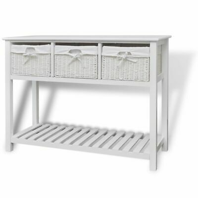 Storage Sideboard with 3 Woven Baskets White Bathroom Console Stand Cabinet Unit