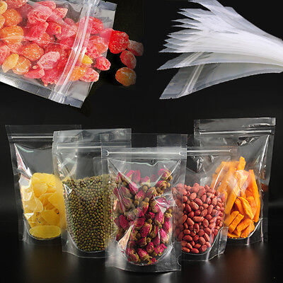 Stand Up Food Bags Zip Lock Reusable Sealing Clear Coffee Snack Packing Pouches