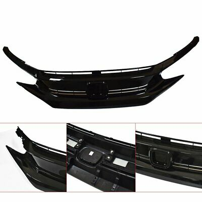 Fits For 2016 2018 Honda Civic Front Grill With Eye Brows Gloss Black Grille