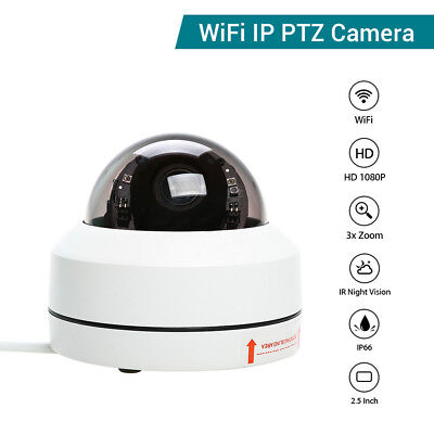 HD 1080P WiFi Wireless IP PTZ Camera Smart Network Onvif 3x Zoom Night Vision
