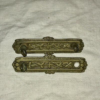 Antique Drawer Pulls Backplates Brass Victorian Ornate Vintage Replacement #28