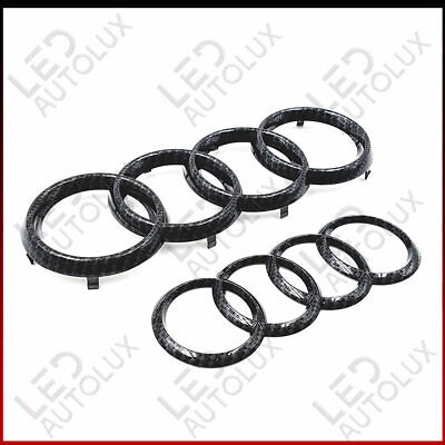 New Black Gloss Rear Back Badge Rings Logo Emblem Audi A3 A4 A5 A6