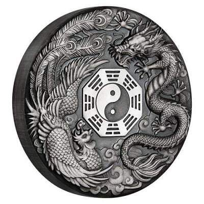 2019 Tuvalu $2 Dragon and Phoenix 2oz Silver Antiqued Rimless Coin