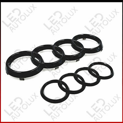 Black Gloss Set Front Rear Grille Badge Rings Logo Emblem Audi A4 B7 ABC Plastic