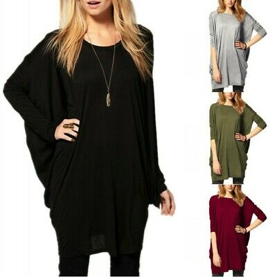 ZANZEA 8-26 Womens Long Batwing Sleeve Casual Loose Tunic Top Blouse Shirt Dress