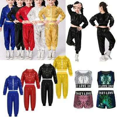 Street Dance Wear Costume Girls Tutu Dress Sequins Kids Hip Hop Jazz Outfits