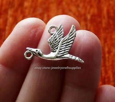 SC1179 5 New Baby Stork Charms Antique Silver Tone